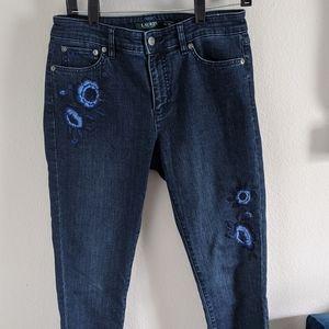 Lauren Ralph Lauren Embroidered Denim Jeans